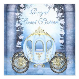 Blaues Prinzessin Carriage Enchanted Sweet 16 Quadratische 13,3 Cm Einladungskarte