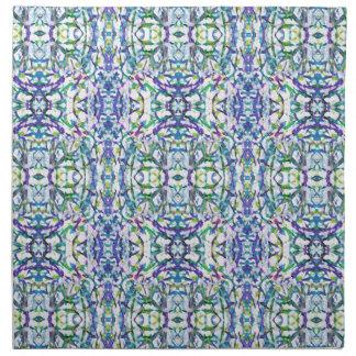 Blaues psychedelisches Muster Stoffserviette