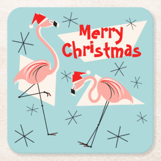 Blaues Quadrat froher Weihnachten Flamingo-Sankt Rechteckiger Pappuntersetzer