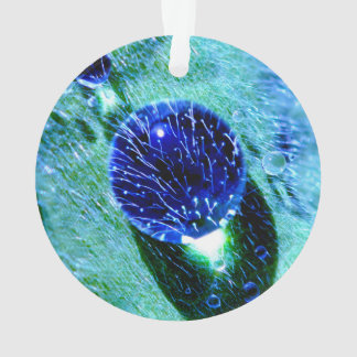 Blaues Regentropfen-Wasser perlt MakroFotoacryl Ornament
