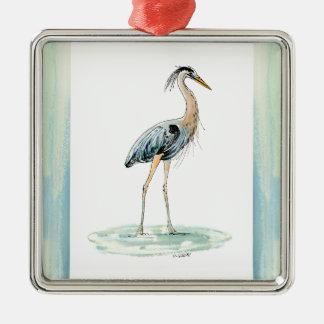 Blaues Reiher-Aquarell Silbernes Ornament
