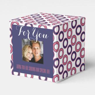 Blaues rosa Hochzeits-Foto 1 Geschenkkarton