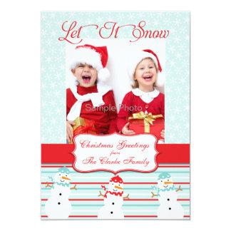 Blaues Rotsnowman-WeihnachtsFoto-Karte 12,7 X 17,8 Cm Einladungskarte