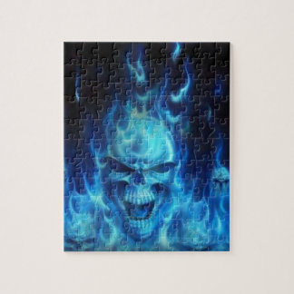 Blaues Schädel-Feuer Puzzle