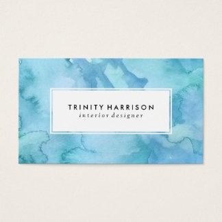 Blaues schickes modernes des Aquarell-  Visitenkarten