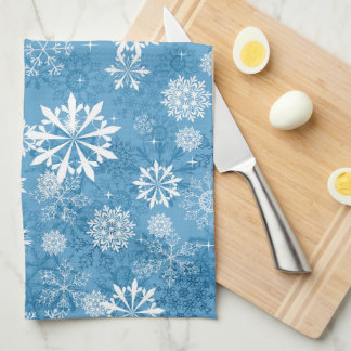 blaues Schneeflockemuster-Geschirrtuch Geschirrtuch