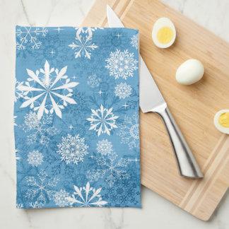 blaues Schneeflockemuster-Geschirrtuch Küchenhandtücher