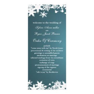 blaues Schneeflockewinter-Hochzeitsprogramm Bedruckte Werbekarten