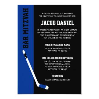 Blaues Schwarz-Hockey-Bar Mitzvah Einladungen