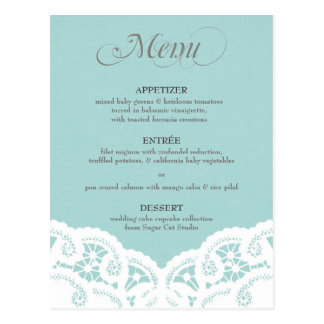 Blaues Spitzedoily-Hochzeits-Menü Postkarte