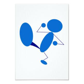 Blaues Strichmännchen-Treten Individuelle Einladungskarte