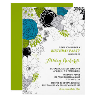 Blaues u. grünes wunderliches 12,7 x 17,8 cm einladungskarte