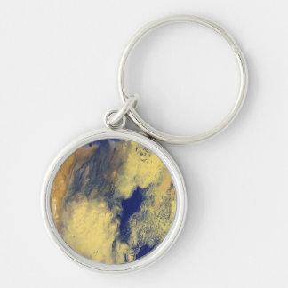 Blaues und gelbes MarmorKeychain Schlüsselanhänger