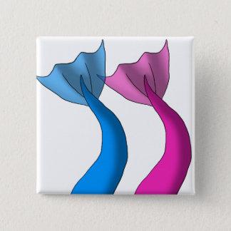 Blaues und heißes Rosa-Meerjungfrau-Schwänze Quadratischer Button 5,1 Cm