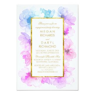 Blaues und lila Goldrahmen-Verlobungs-mit 12,7 X 17,8 Cm Einladungskarte