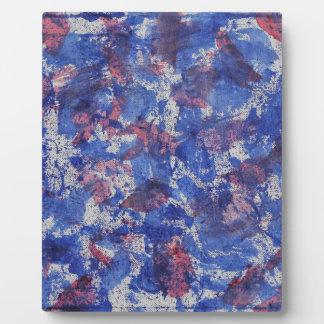 Blaues und rotes Aquarell Fotoplatte