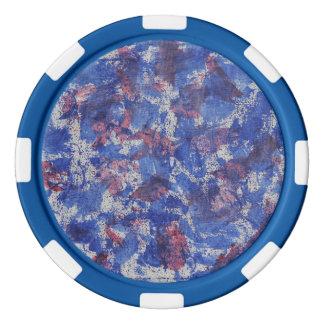 Blaues und rotes Aquarell Poker Chip Set