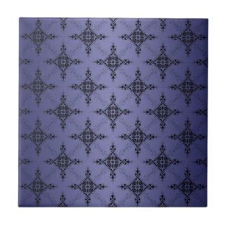 Blaues und schwarzes Damast-Muster Kleine Quadratische Fliese