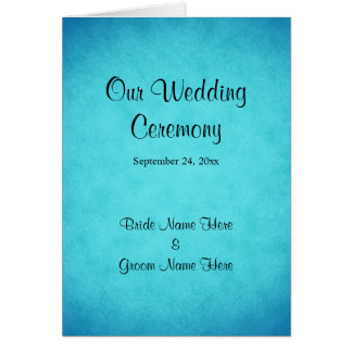 Blaues und schwarzes Hochzeits-Programm Karte