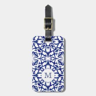 Blaues und weißes Aquarell-spanisches Gepäckanhänger