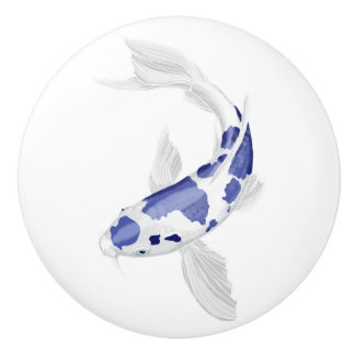 Blaues und weißes Koi Keramikknauf