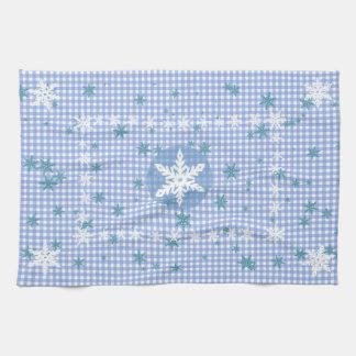Blaues und weißes Schneeflocke-Geschirrtuch Handtuch