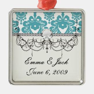 blaues und weißes Strudeldamastmuster des Aqua Silbernes Ornament