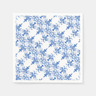 Blaues weißes französisches Leuchtermuster Serviette