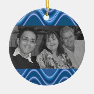blaues Welle photoframe Rundes Keramik Ornament