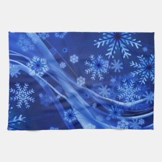 Blaues Winter-Schneeflocke-Weihnachten Handtuch