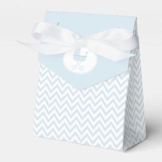 Blaues Zickzack mit Kinderwagen-Dusche Geschenkkartons
