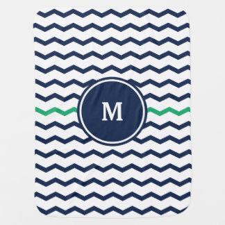 Blaues Zickzack Monogramm Kinderwagendecke