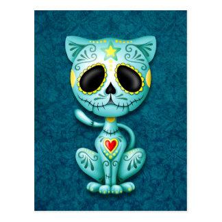 Blaues Zombie-Zuckerkätzchen Postkarte