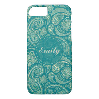 Blaugrüne und beige Creme Paisley iPhone 8/7 Hülle