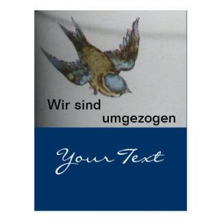 Blaumeise-umzug-postkarte Postkarte
