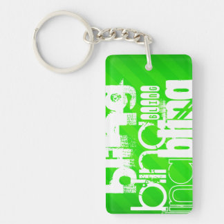 Bling; Grüne Neonstreifen Beidseitiger Rechteckiger Acryl Schlüsselanhänger