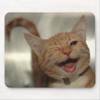 Blinzeln der glücklichen Ingwer-Katze Mauspads