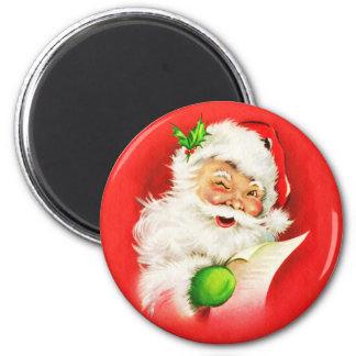 Blinzeln von Weihnachtsmann Runder Magnet 5,1 Cm