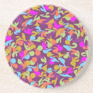 Blobs der Farbe auf Lila Sandstein Untersetzer
