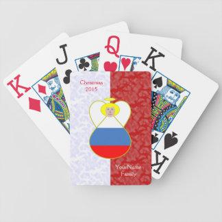Blond-haarige russische Engels-Flaggen-rotes Weiß Spielkarten