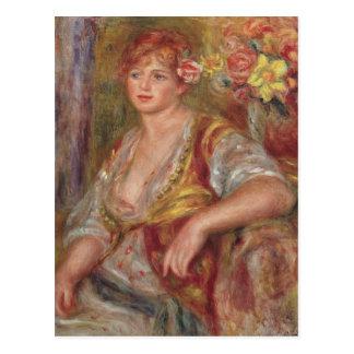 Blonde Frau mit einer Rose, c.1915 Postkarte