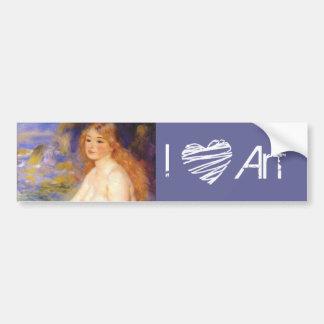 Blonde Herz-Kunst der Badegast-Malerei-I des 19. Autoaufkleber