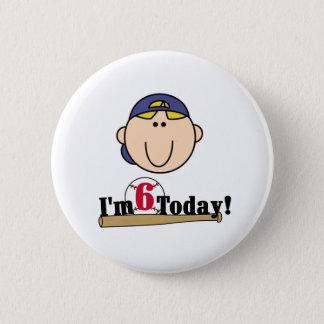 Blonder Jungen-Baseball-6. Geburtstag Runder Button 5,1 Cm