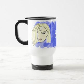 Blonder Mädchen-Porträt-Cartoon-blaues Reisebecher