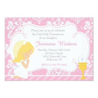 Blondes Mädchen-erster Kommunions-Damast 12,7 X 17,8 Cm Einladungskarte