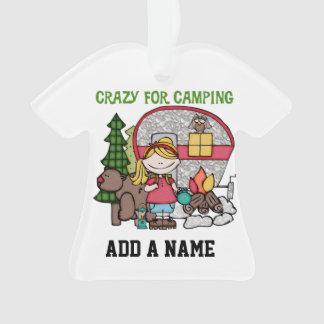 Blondes Mädchen verrückt für Camping Ornament