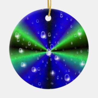 Blue Green Rainbow in Elephant Skin Leather Optic Keramik Ornament