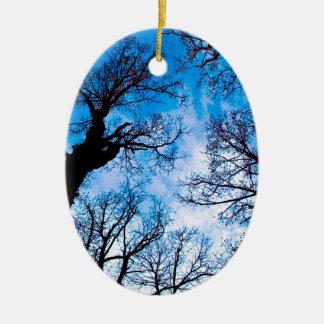 BLUE POWER OF TREE OVALES KERAMIK ORNAMENT