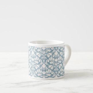 Blühen Sie Damast-große Muster-Creme auf Blau Espressotasse