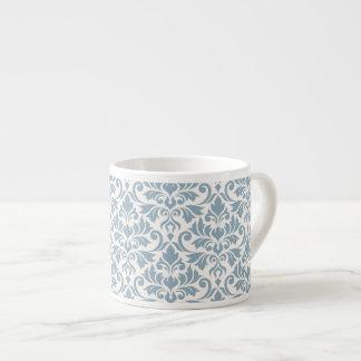 Blühen Sie Damast-großes Muster-Blau auf Creme Espressotasse